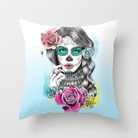 aaliyah Throw Pillows featuring Aaliyah - Day of the Dead by DejaLiyah