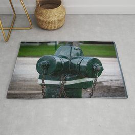 Tilting Green Waterous Pacer Fire Hydrant Crooked Fire Plug Rug
