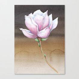 Magnolia Umber Brown Aqua Canvas Print