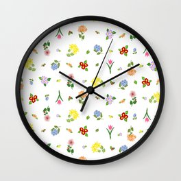 Flowers and More Flowers Wall Clock