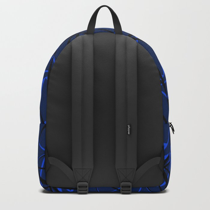 Abstract Black and blue geometric pattern . Backpack