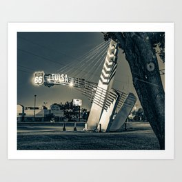 Tulsa Western Gateway Arch and Neon Lights Along Route 66 - Sepia Art Print