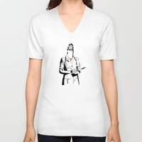 cigarette V-neck T-shirts featuring Cigarette Nurse by Ben Talatzko