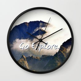 'Go Explore.' Mountains, Adventure, Wanderlust, Typography Wall Clock
