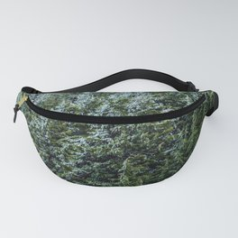 Snow Bank Woodlands // Photograph of the Dense Blue Green Evergreen Pine Tree Forest Fanny Pack