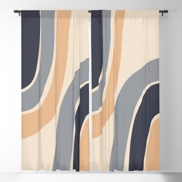 Abstract Shapes 51 in Desert mist Ultimate grey Inkwell Buttercream (Rainbow Abstraction) Blackout Curtain