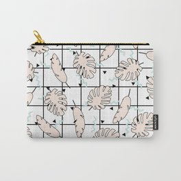 Funky Fresh Tropical Graphic 80's Memphis Grid Design Carry-All Pouch