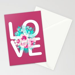 Elegant Floral Love Typography Stationery Cards