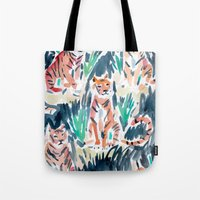 tigers Tote Bags featuring Sitting Tigers by Barbarian // Barbra Ignatiev