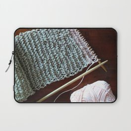 knitting, knitting photos, oatmeal color, peach, natural color, scarf, cotton Laptop Sleeve