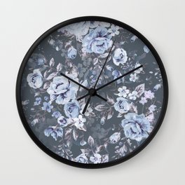 Blue FLORAL roses pattern Wall Clock