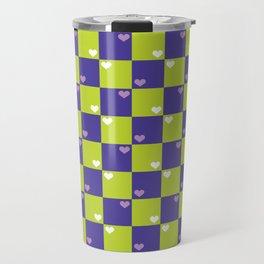 Purple Green Checkers Travel Mug