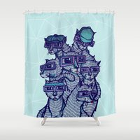 school Shower Curtains featuring Art School by littleclyde