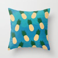 pineapples Throw Pillows featuring Pineapples  by Ashley Hillman