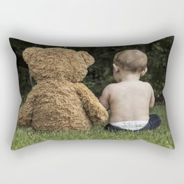 Baby and Teddy Bear Rectangular Pillow