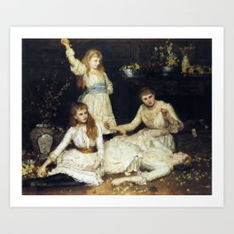 John Collier - May, Agatha, Veronica and Audrey, the Daughters of Colonel Makins [1884] Art Print