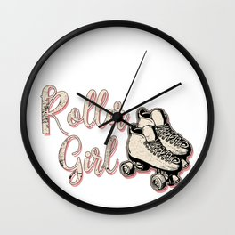 Skating Roller Girl Skateboard Rollerblading Gift  Wall Clock