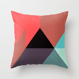 Red Black Blue Triangles Throw Pillow