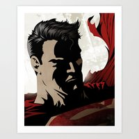 man of steel Art Prints featuring MAN OF STEEL by Taylor Callery Illustration