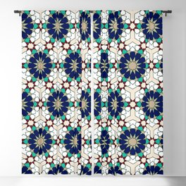 Moroccan geometric pattern blue green and off-white Blackout Curtain