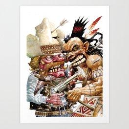 cowboy and native american Art Print