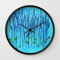 martini Wall Clocks featuring :: Blue Martini :: by :: GaleStorm Artworks ::