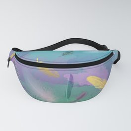 Dancing Feathers - Turquoise and purple shades with gold details Fanny Pack