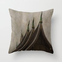 buddhism Throw Pillows featuring Temple of the golden city Luang Prabang Laos by Maria Heyens