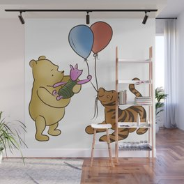 Pooh and Friends with Balloons (White/Transparent) Wall Mural