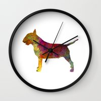 bull terrier Wall Clocks featuring Bull Terrier in watercolor by Paulrommer