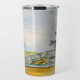 Santa Monica Beach - Lifeguard Tower #8 Travel Mug