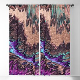 Abstract artistic teal violet rose gold watercolor waves Blackout Curtain