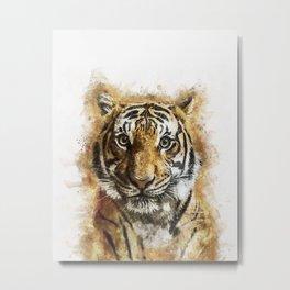 Tiger Watercolor Metal Print