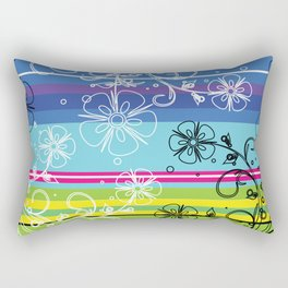 Striped color wheel multicolor flower drawing Rectangular Pillow
