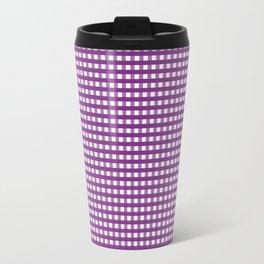 Purple Gingham Checkered Pattern Travel Mug