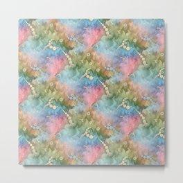 Satin Rainbow Pastel Floral Metal Print