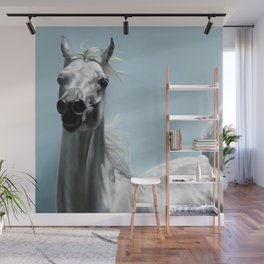 Arabian White Horse Painting Wall Mural