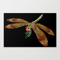 dragonfly Canvas Prints featuring Dragonfly by Tim Jeffs Art