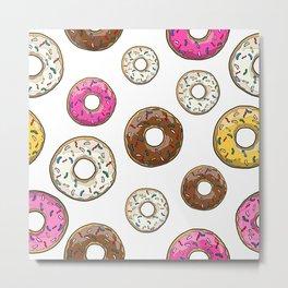 Donut Pattern - White Metal Print