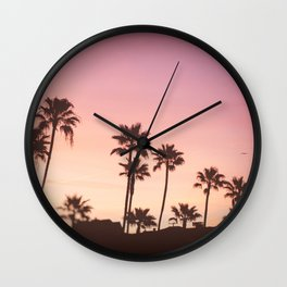 Pink Black Manhattan Beach Sunset Wall Clock