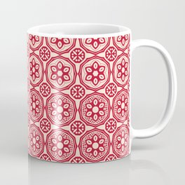 African Tribal Style Hexagon Motif Pattern Red and Beige Coffee Mug