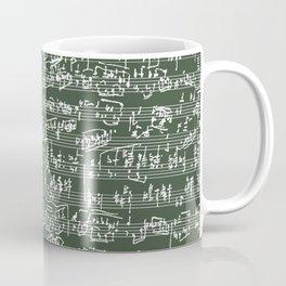 Hand Written Sheet Music // Timber Green Coffee Mug