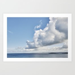 Cloudscape over water at Fistral Beach, Newquay, Cornwall. Art Print