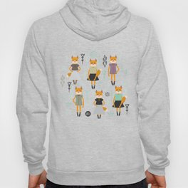 Kawaii fox girl in dress, cartoon flowers green lilac black on white Hoody