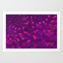 Abstract Pink Ultra Violet Love Heart Pattern | St Valentines day Art Print