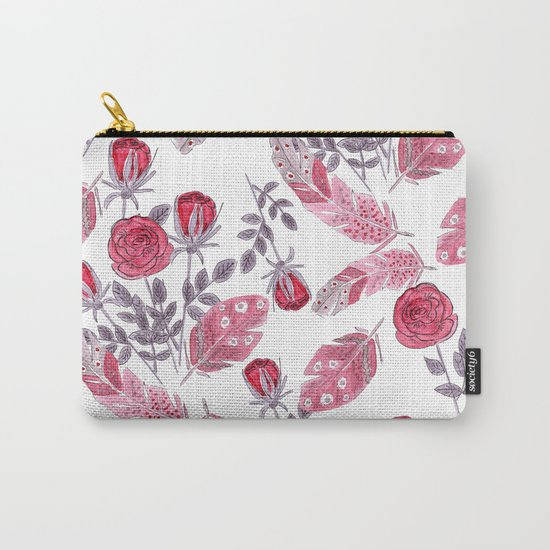 Watercolor . Floral pattern with bird feather .1 Carry-All Pouch