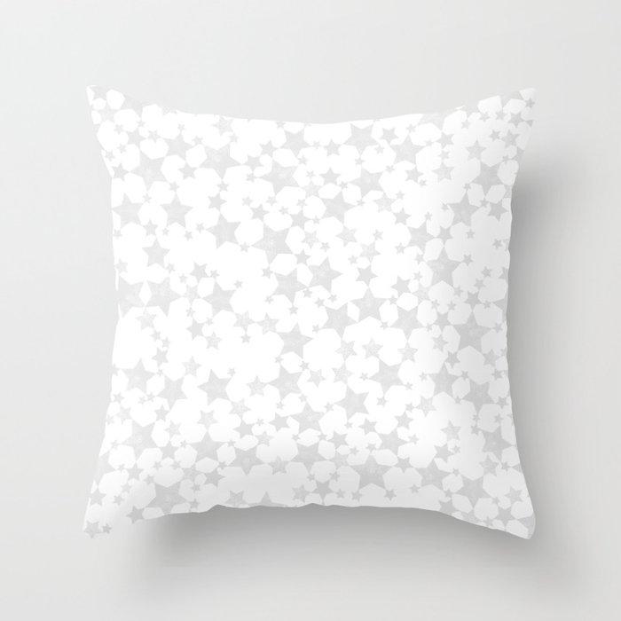 Block Print Silver-Gray and White Stars Pattern Deko-Kissen