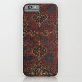Boho Chic Dark V // 17th Century Colorful Medallion Red Blue Green Brown Ornate Accent Rug Pattern iPhone Case