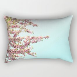 Pink Flowers on Aqua Blue Rectangular Pillow