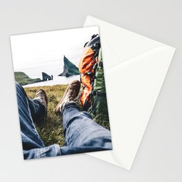 backpacker resting at faroe Stationery Cards